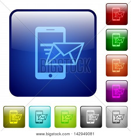 Set of sending email color glass rounded square buttons