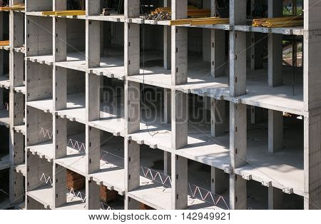 Concrete constructions commercial building construction in daylight