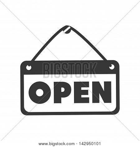 open sign door frame board store shop vector illustration isolated
