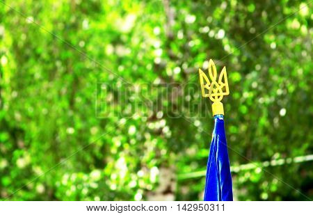 Trident (national ukrainian coat of arms) on the top of the Ukrainian flag over green spring foliage