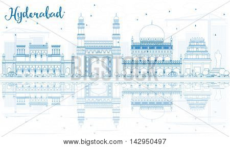 Outline Hyderabad Skyline with Blue Landmarks and Reflections. Business Travel and Tourism Concept with Historic Buildings. Image for Presentation Banner Placard and Web Site.