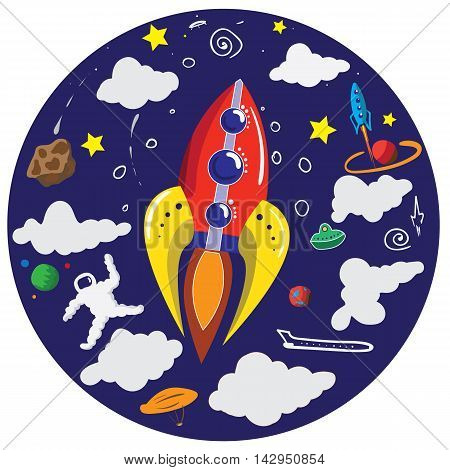 Vector illustration on the theme of space with spaceship