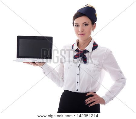 Young Stewardess Showing Laptop With Blank Screen Isolated On White