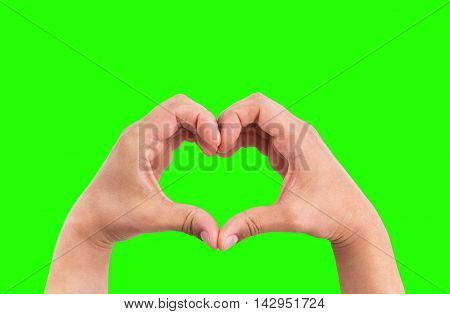 Man Hands In The Form Of Heart Against The Chroma Key Green Screen Background, Hands In Shape Of Lov