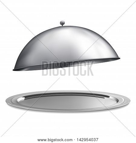 Restaurant cloche with open isolated on a white background, vector
