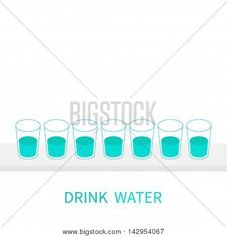 Drink eight glasses of water. Infographic. Glasses on shelf. Healthy lifestyle. Isolated. White background. Flat design. Vector illustration