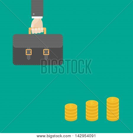 Businessman hand holding briefcase. Gold coin stacks icon in shape of diagram. Dollar sign symbol. Cash money. Income and profits. Growing business concept. Flat design. Green background. Vector