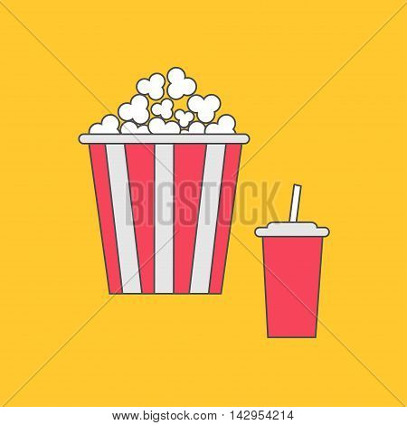 Popcorn and soda with straw. Cinema thin line icon in flat dsign style. Yellow background. Vector illustration