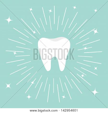 Healthy tooth icon. Round line circle. Oral dental hygiene. Children teeth care. Shining effect stars. Blue background. Flat design. Vector illustration