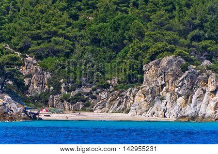 Deserted sandy beach on east coast of Sithonia, Greece