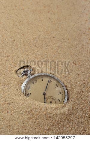 Antique Pocket Watch In Sand