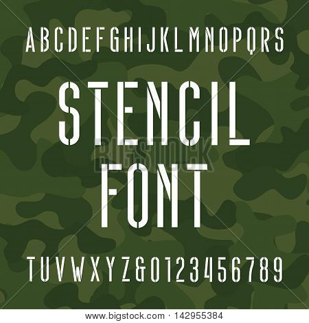 Stencil alphabet font. Type letters and numbers on camo background. Vector typography for your design.