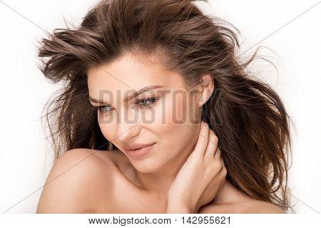 Beauty Portrait Of Natural Brunette Woman.