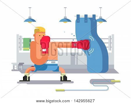 Boxer cartoon character. Sport boxing, fight man, competition and winner, flat vector illustration