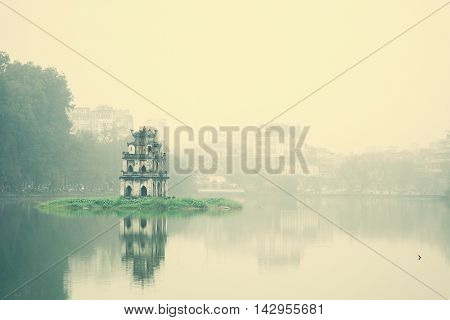 Foggy day at Hoan Kiem lake - Hanoi