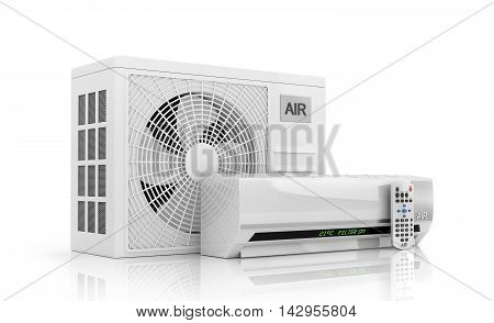 air conditioning isolated on white. 3d illustration