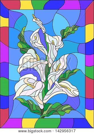 Illustration in stained glass style with flowers buds and leaves of Calla flower