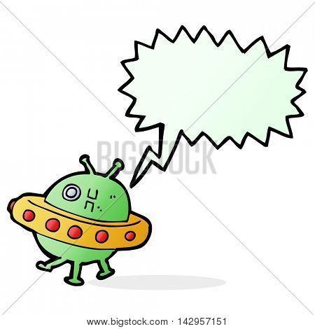 cartoon UFO with speech bubble