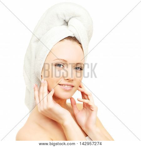Bodycare - spa woman with bath towel