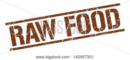 raw food stamp. brown grunge square isolated sign