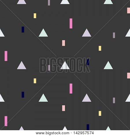 Vector seamless pattern with geometric shapes. Blue triangles and pink rectangles fine print black background.