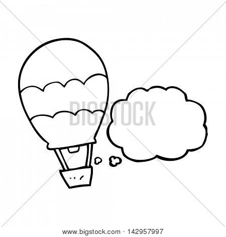 freehand drawn thought bubble cartoon hot air balloon