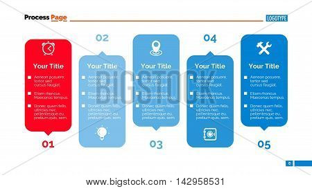 Process chart. Element of diagram with five steps, presentation, chart. Concept for infographics, business templates, reports. Can be used for topics like strategy, marketing analysis, management