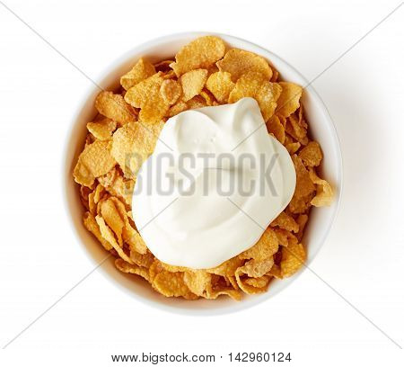 Corn Flakes Bowl With Yogurt Isolated On White, From Above