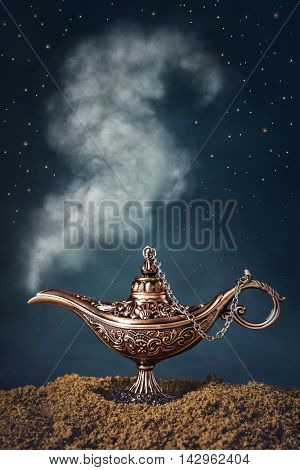 Aladdin magic lamp with smoke
