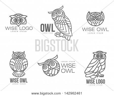 Set of black and white owl logo templates. illustration isolated on white background. Great owl logo templates for companies, schools and colleges
