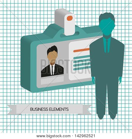 Business infographic with person and badge flat design. Digital vector image