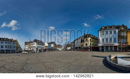 MOENCHENGLADBACH, GERMANY - MARCH 09, 2016: Panorama view of Old Market in Moenchengladbach, a city on Northrine Westphalia, famous for its soccer team and stadium