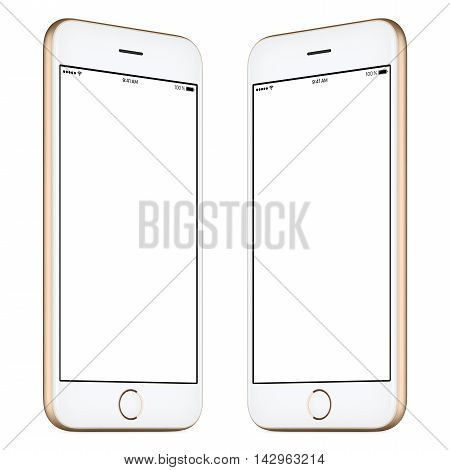 Smartphone. This smartphone mockup includes both sides of slightly rotated gold smartphone with blank template screen. You can use this mockup for portfolio or design presentation or ad campaign.