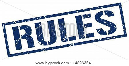 rules stamp. blue grunge square isolated sign