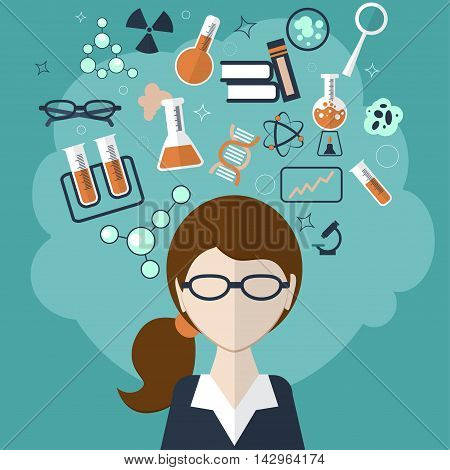 Woman With A Cloud Of Thoughts About The Test Tube, Formulas, Materials And Other Objects On Green B