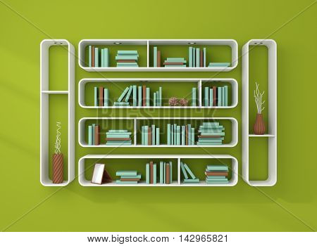 3d illustration of bookshelves with books and decorations.