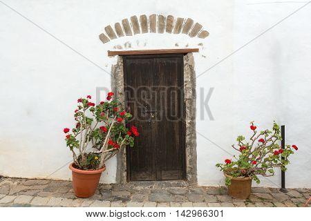 Old brown door in Betancuria village on on Fuerteventura Canary Islands Spain