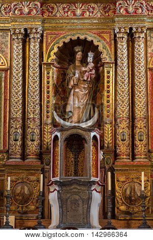 FUERTEVENTURA, SPAIN - SEPTEMBER 16, 2015: Main nave and altar in Cathedral Church of Saint Mary of Betancuria in Fuerteventura Canary Islands Spain