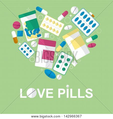 Set Of Pills In The Form Heart For Your Advertising. Vector