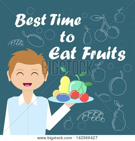 Card With The Waiter And Fruits For Your Design. Vector