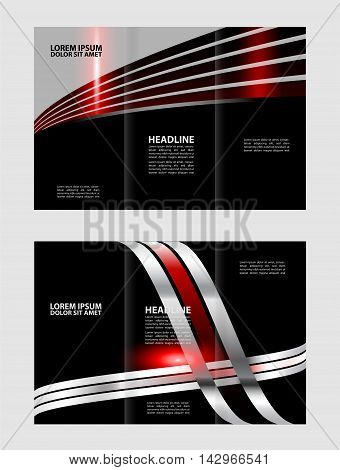brochure design template waves tri-fold vector abstract