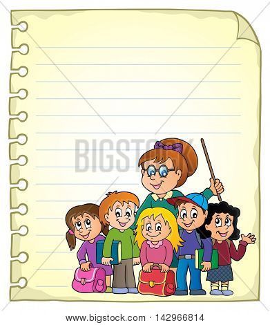Notebook page with school class - eps10 vector illustration.