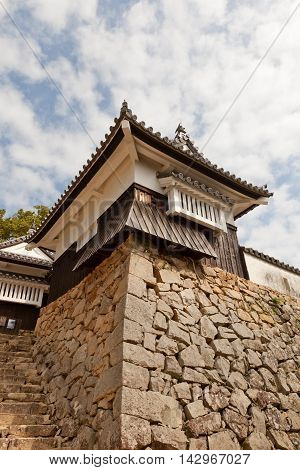 TAKAHASHI JAPAN - JULY 20 2016: Go-no-hirayagura Turret of Bitchu Matsuyama castle (circa 17th c.) Takahashi Japan. Matsuyama is one of only 12 survived castles in Japan