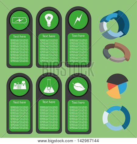 Ecological business green infographic with icons and 3d charts flat design. Digital vector image
