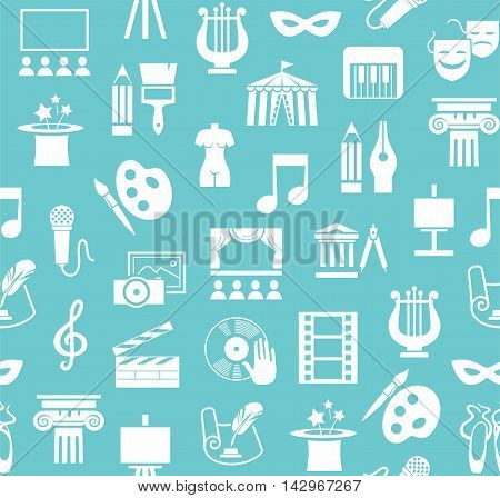 Art & culture, background, seamless, green and blue. Vector background with images of objects of culture, leisure and entertainment. White flat icons on a light blue background.