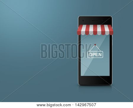 Modern smart mobile phone with on line shopping store graphic and open sign over blue background