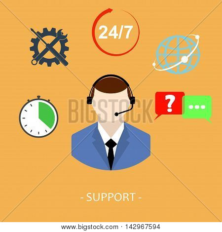 Flat online support concept background. Web technical service. Operator and customer. Professional network, community.