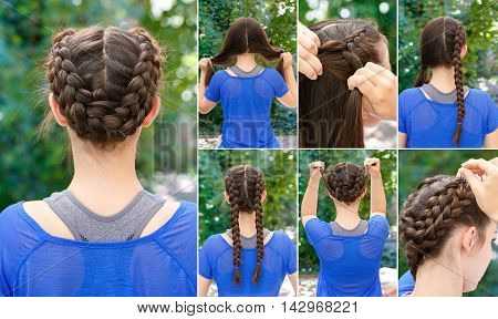Hair tutorial. Hairstyle braids tutorial. Backstage technique of weaving plaits. Hairstyle. Tutorial. Braided updo tutorial. Hairstyle for sports