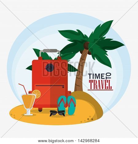 baggage palm tree cocktail glasses sandals time travel vacations trip icon. Colorful design. Vector illustration