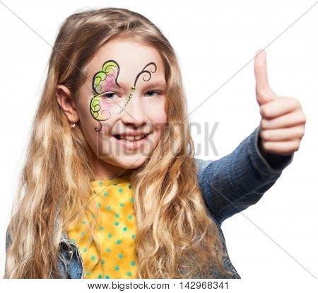 Girl with face painting. Child with body art